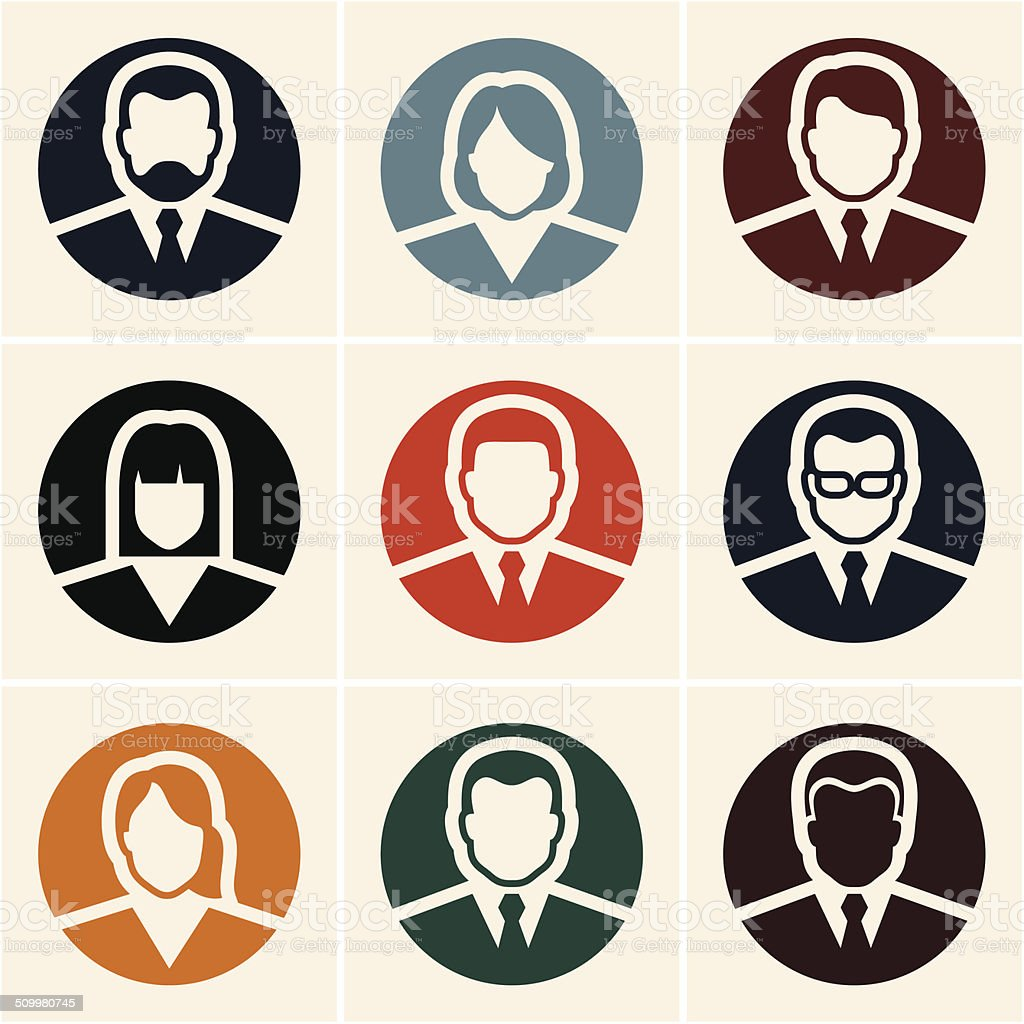 Business people icons. Avatar. vector art illustration