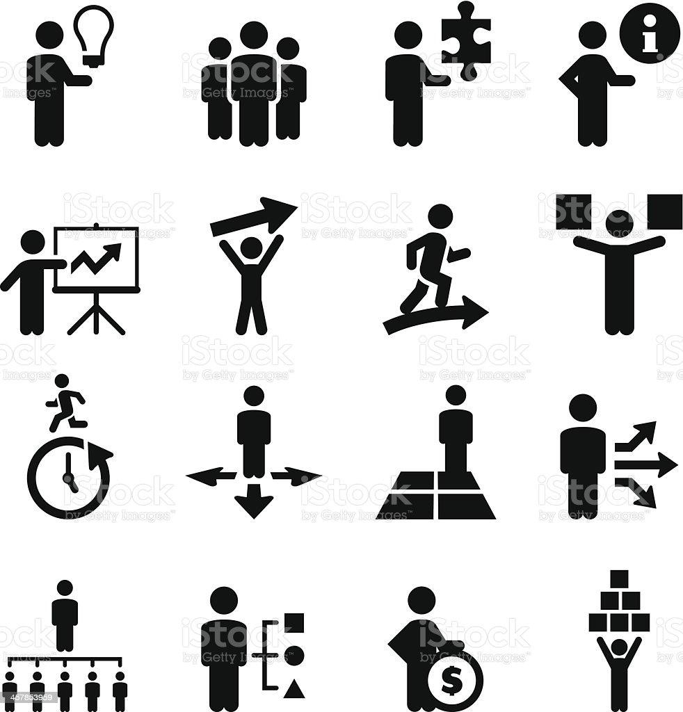Business People Icons - Black Series vector art illustration