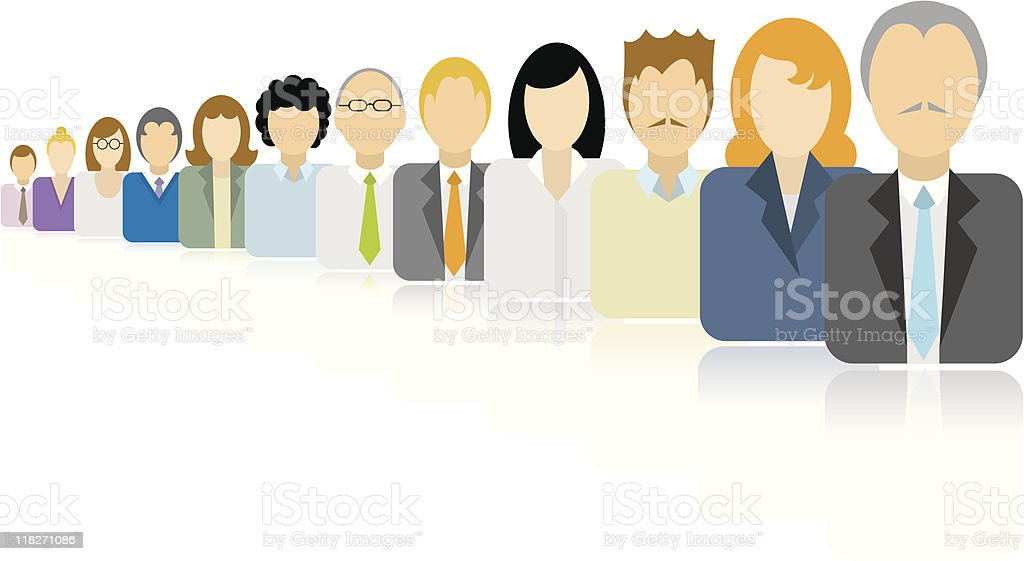 Business people icons team / Endless queue royalty-free stock vector art