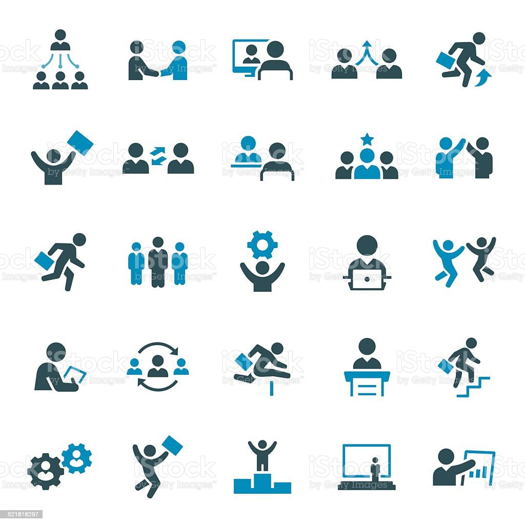 Business People cons vector art illustration