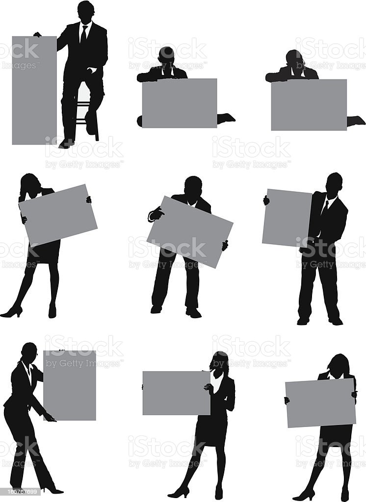 Business people illustrations holding signs vector art illustration