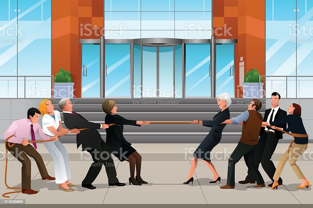 Business people in a Tug of War vector art illustration