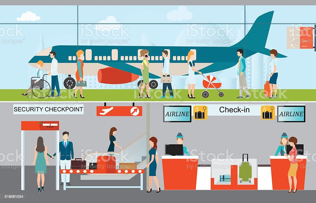 Business people in airport terminal. vector art illustration