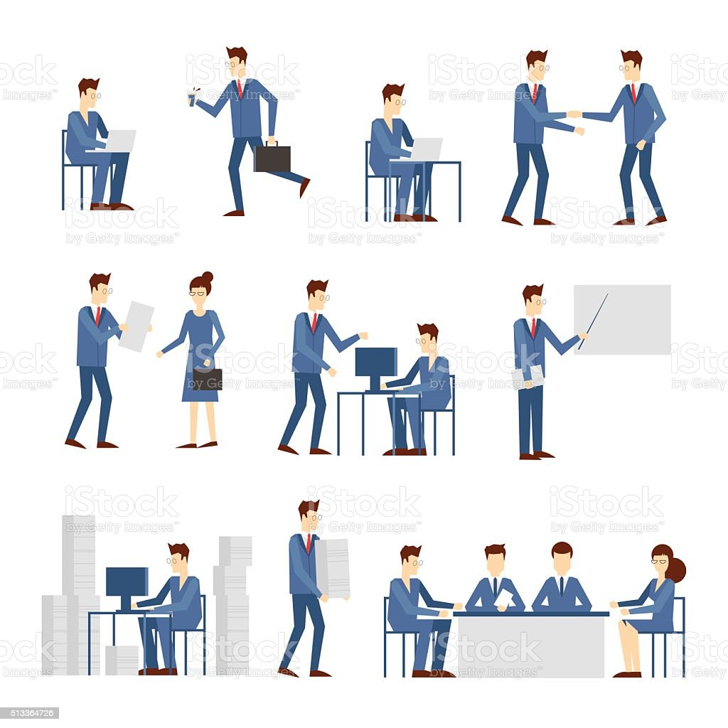 Business people in an office work vector art illustration