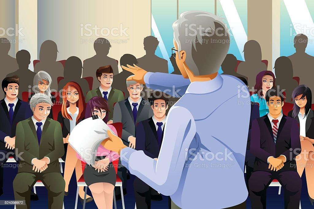 Business people in Seminar vector art illustration