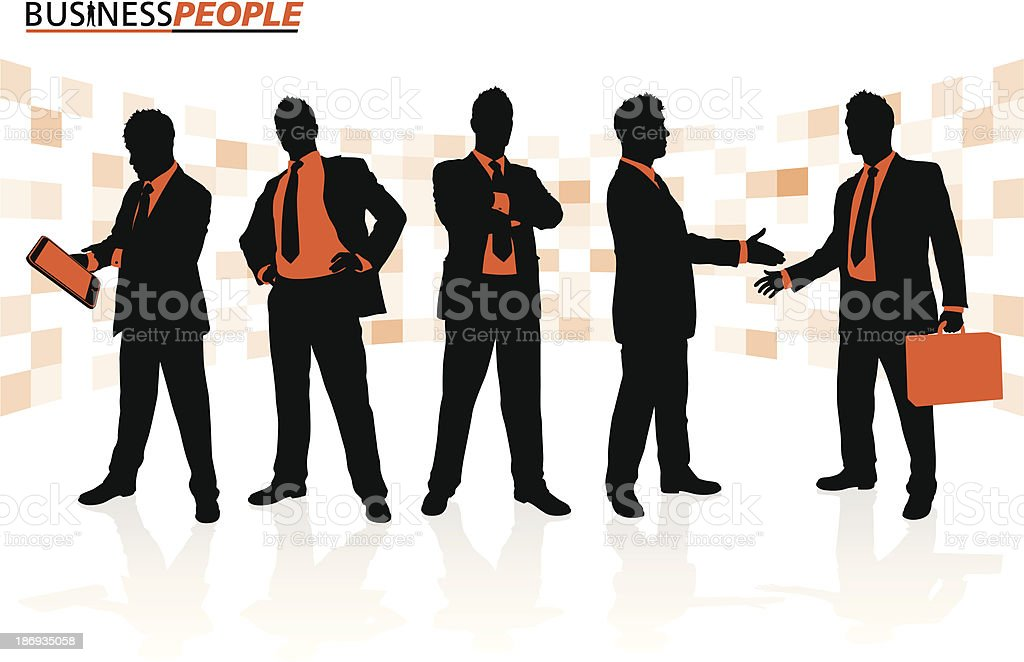 Business People in Team Poses royalty-free stock vector art