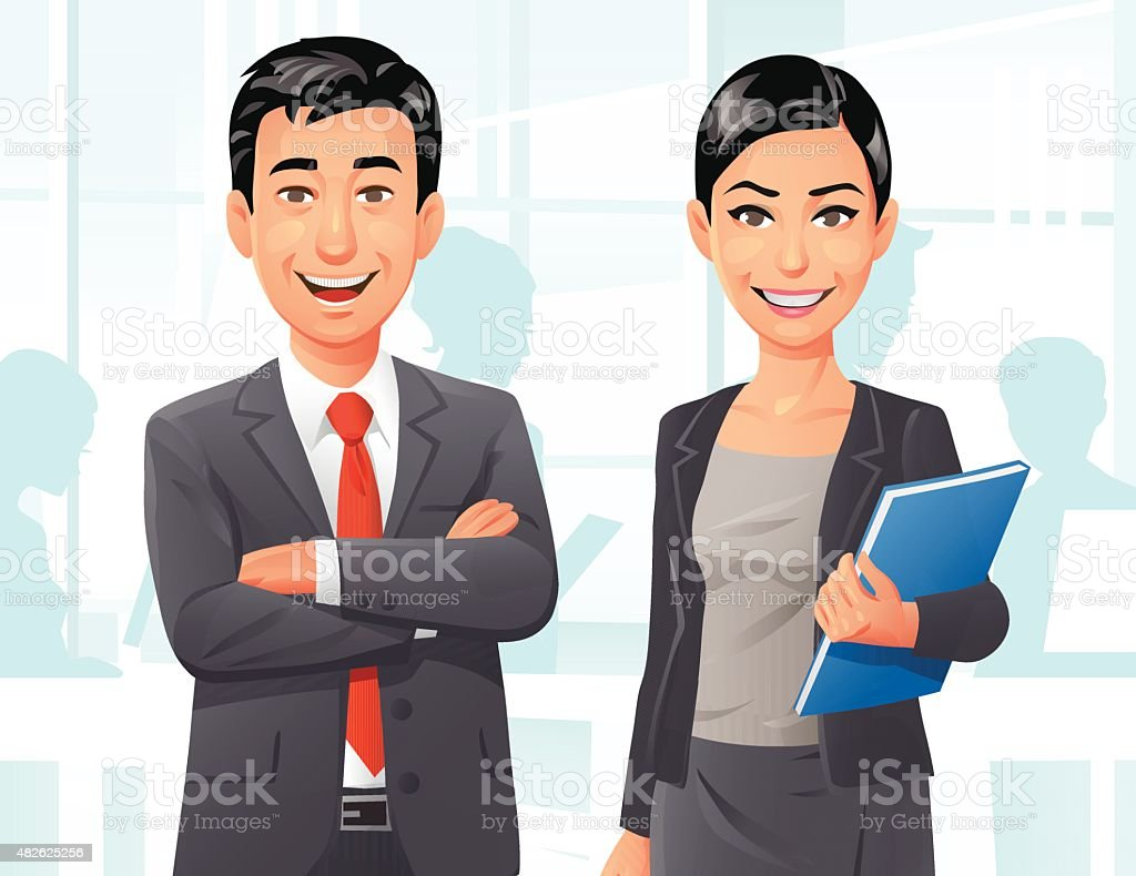 Business People In The Office vector art illustration