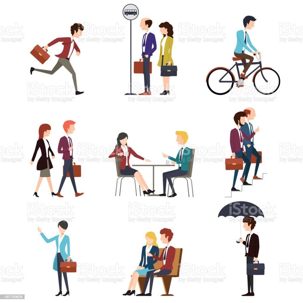 Business people in urban outdoor activity. Vector men and women vector art illustration