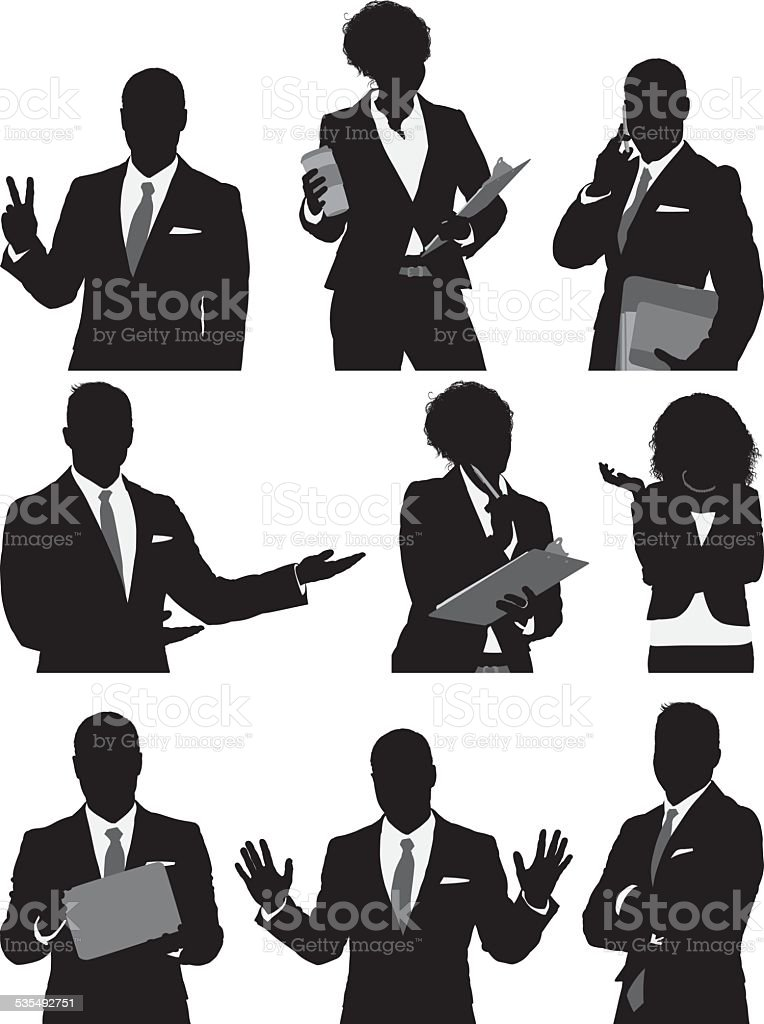Business people in various actions vector art illustration