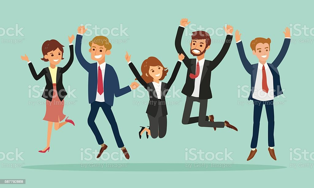 business people jumping celebrating success cartoon illustration vector art illustration