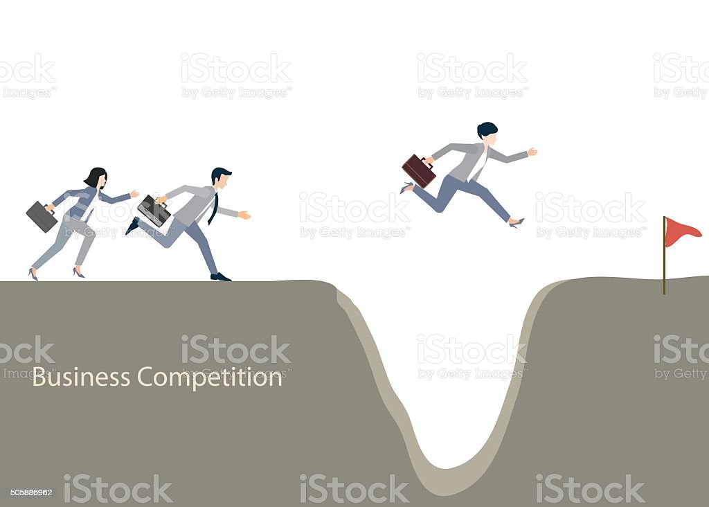 Business people jumping over gap. vector art illustration