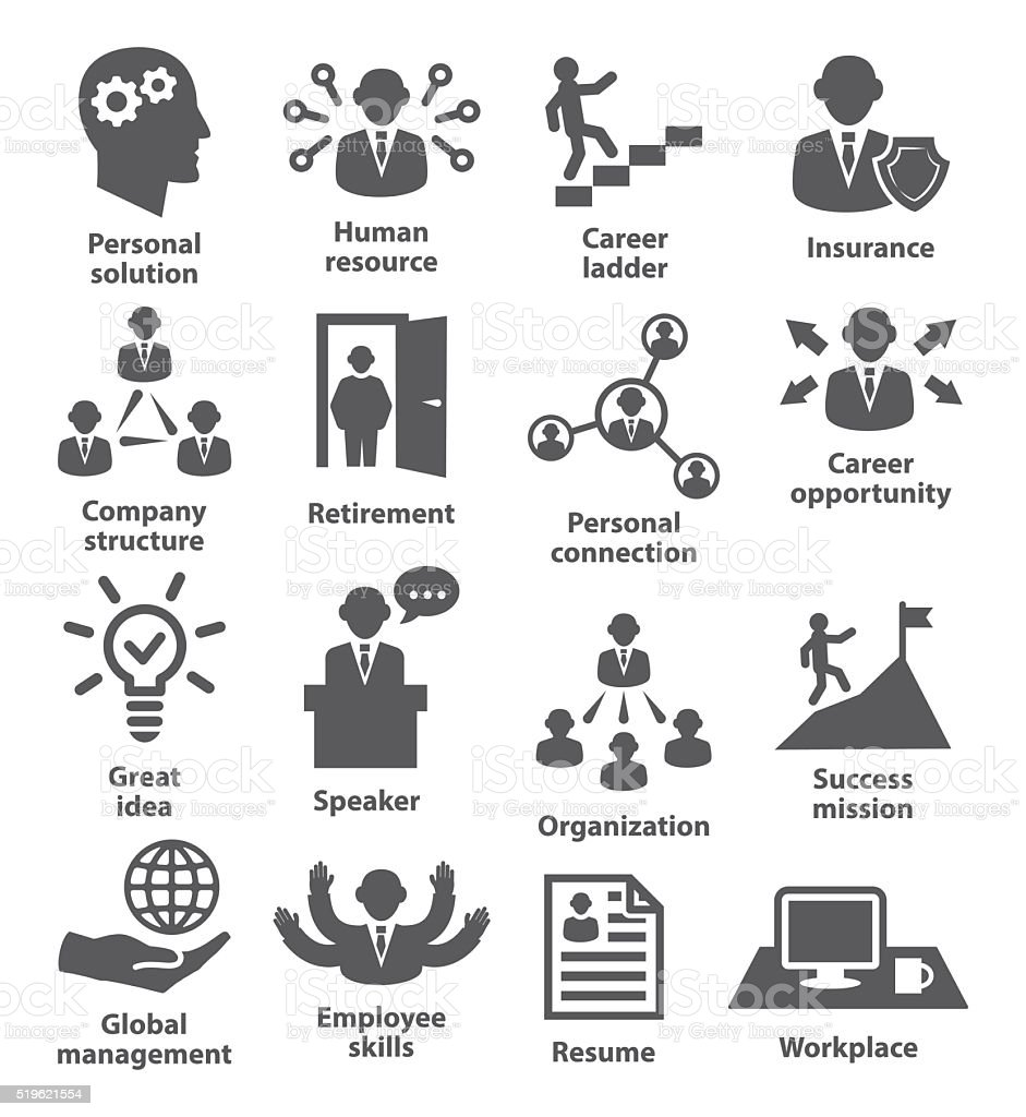Business people management icons vector art illustration