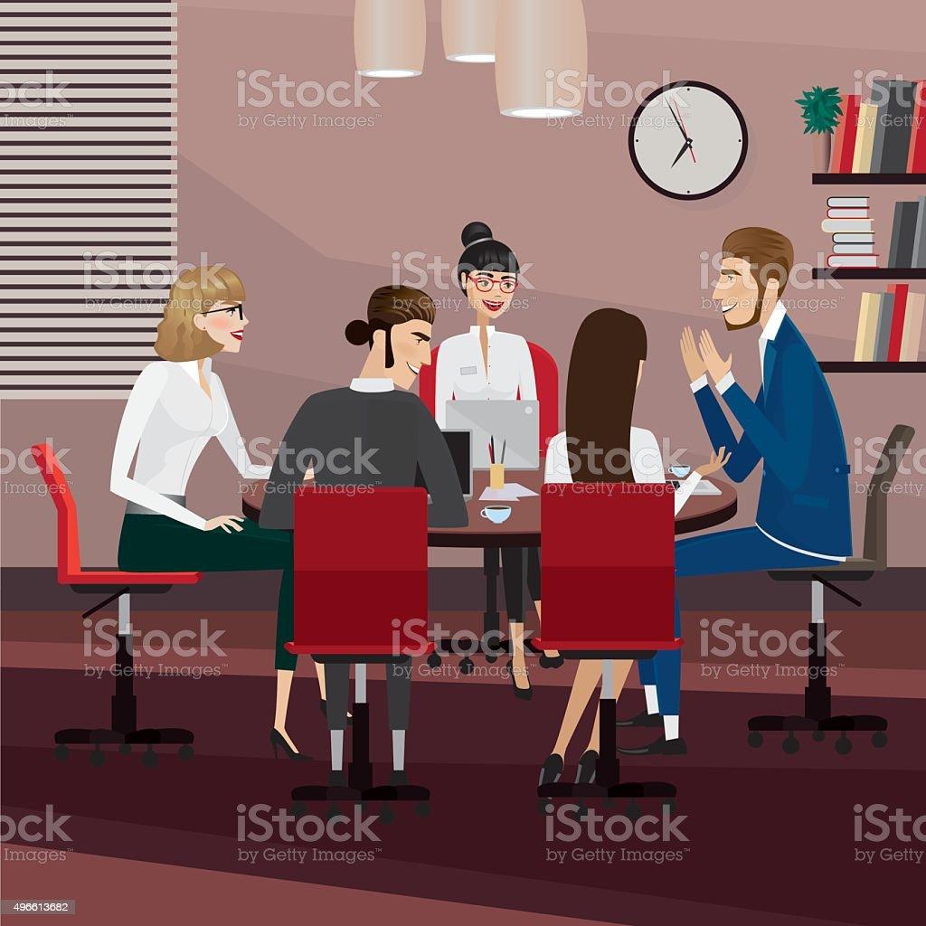 Business people meeting vector art illustration