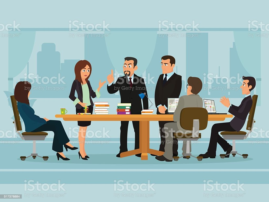 Business People Meeting vector art illustration