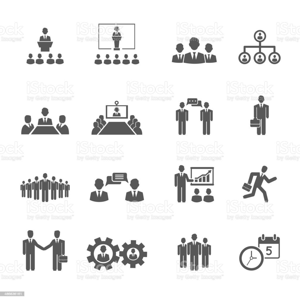Business people meetings and conferences icons vector art illustration