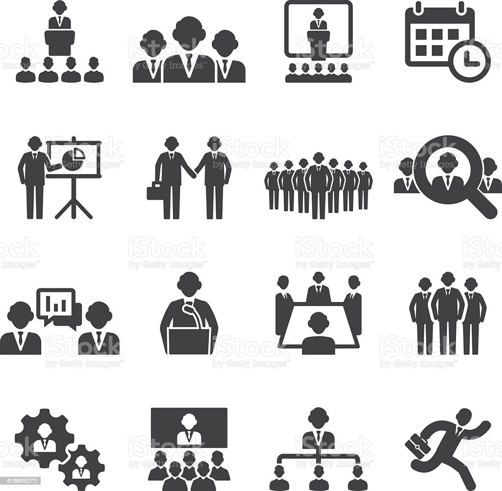 Business people meetings and conferences Silhouette Icons | EPS10 vector art illustration