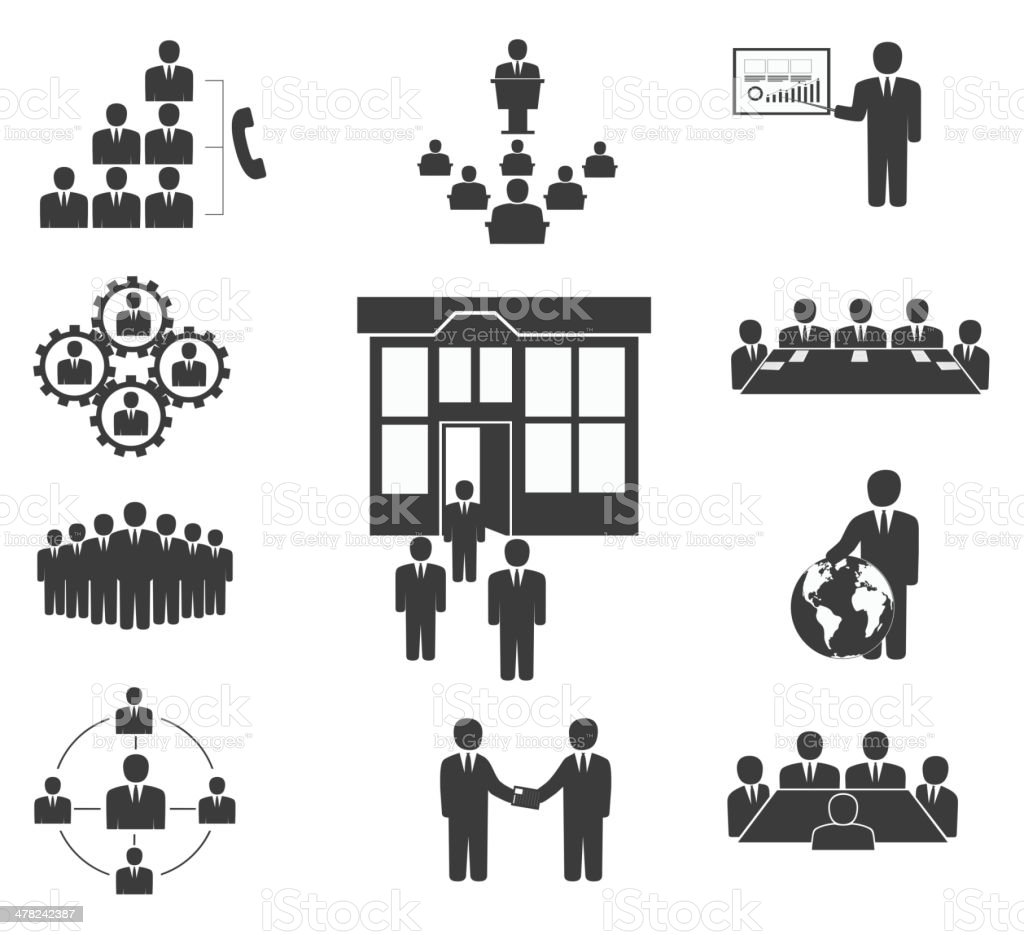 Business people. Office icons, conference vector art illustration