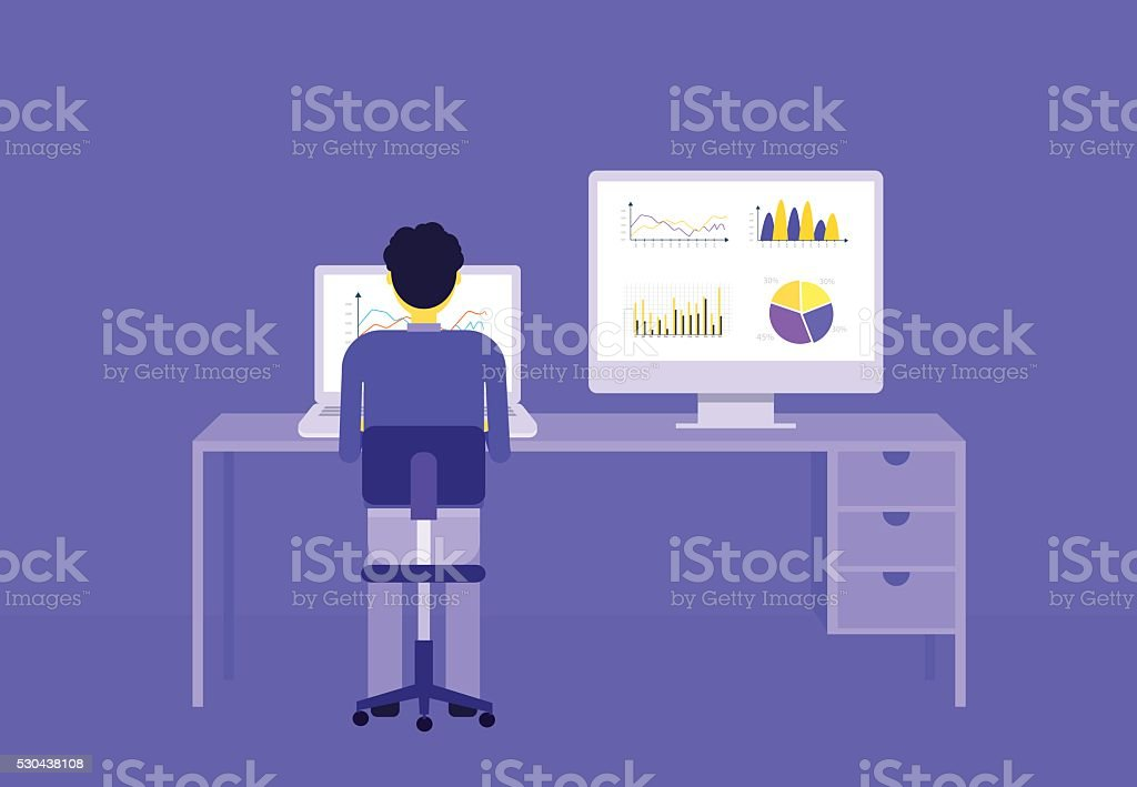 business people on analytic graph monitor.business investment planning vector art illustration