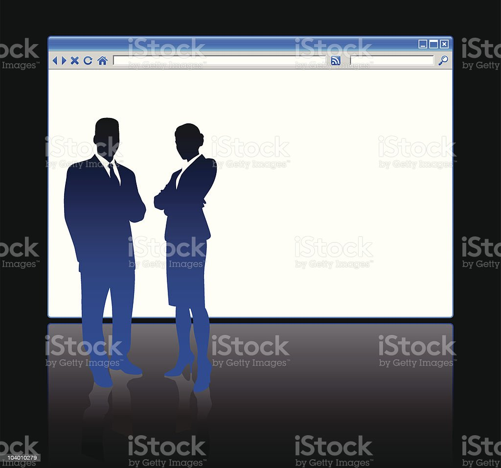 Business people on background with web browser blank page royalty-free stock vector art