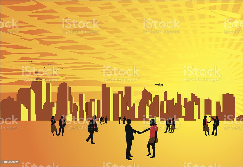 Business People On City Horizon royalty-free stock vector art