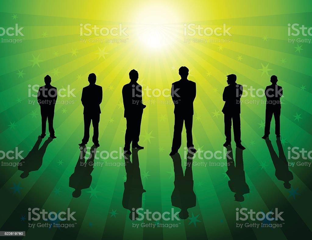 Business People on green color star burst background vector art illustration