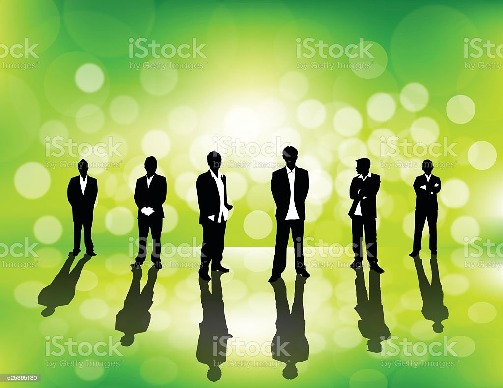 Business People on green defocus background vector art illustration