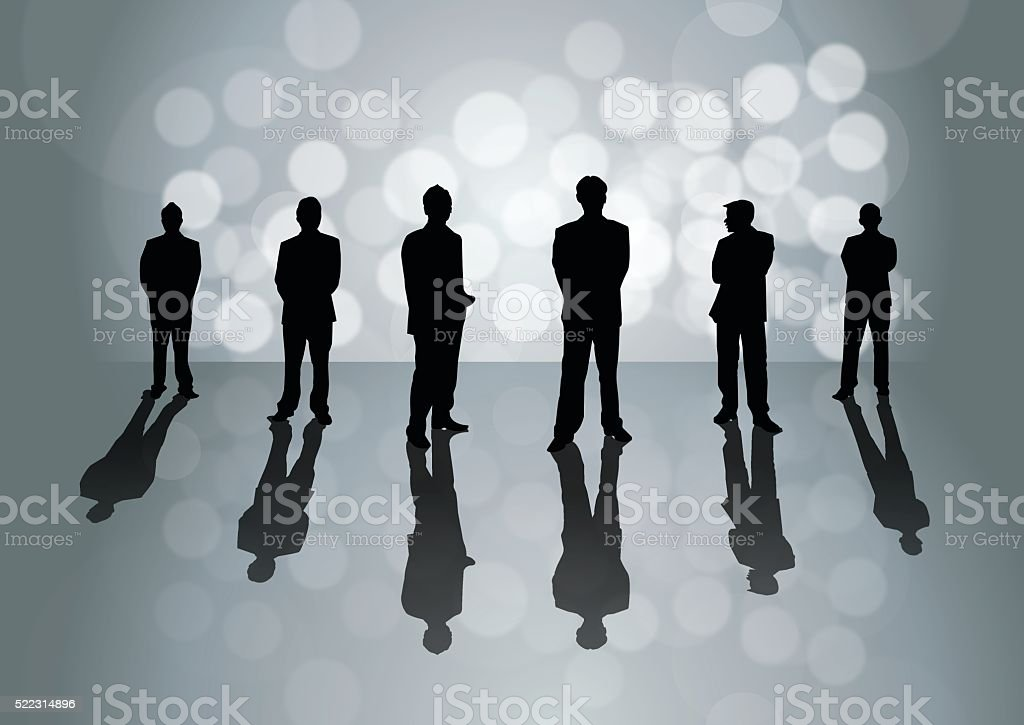 Business People on grey background vector art illustration