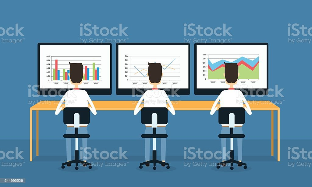business people on monitor report graph and analysis concept vector art illustration