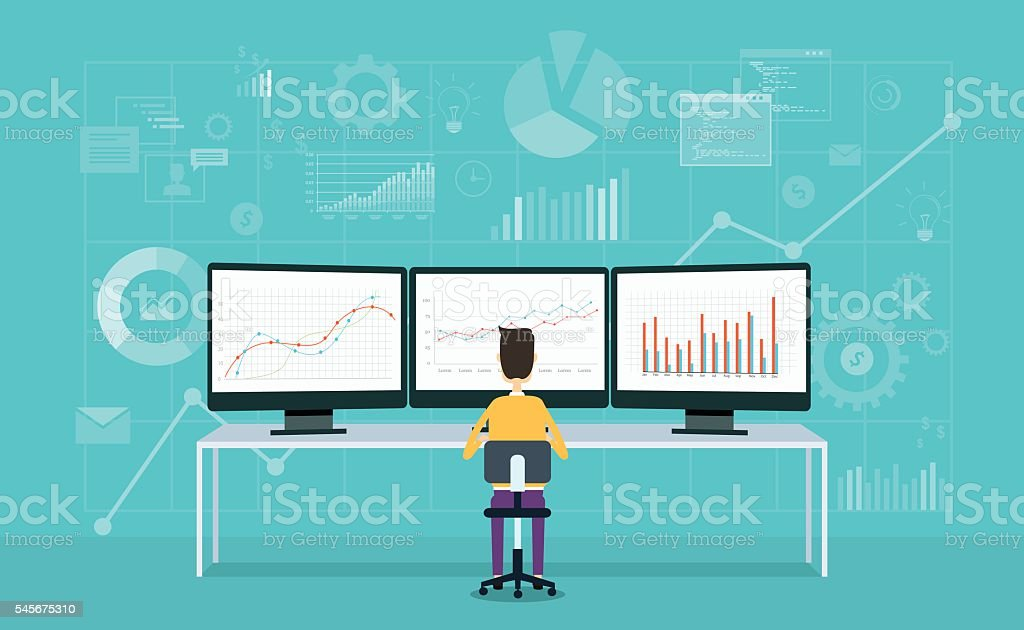 business people on monitor report graph and business analyze vector art illustration