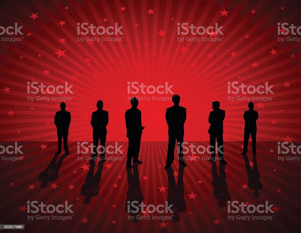 Business People on red star burst background vector art illustration