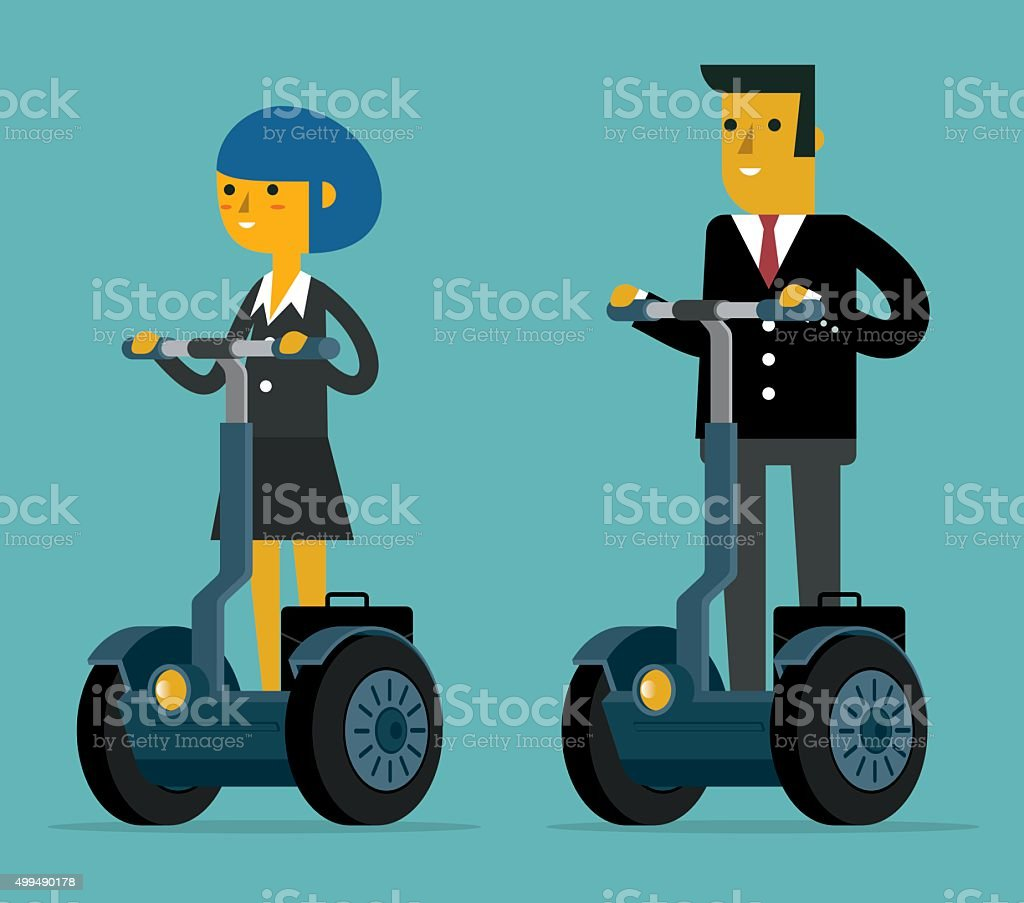 Business People on segway vector art illustration