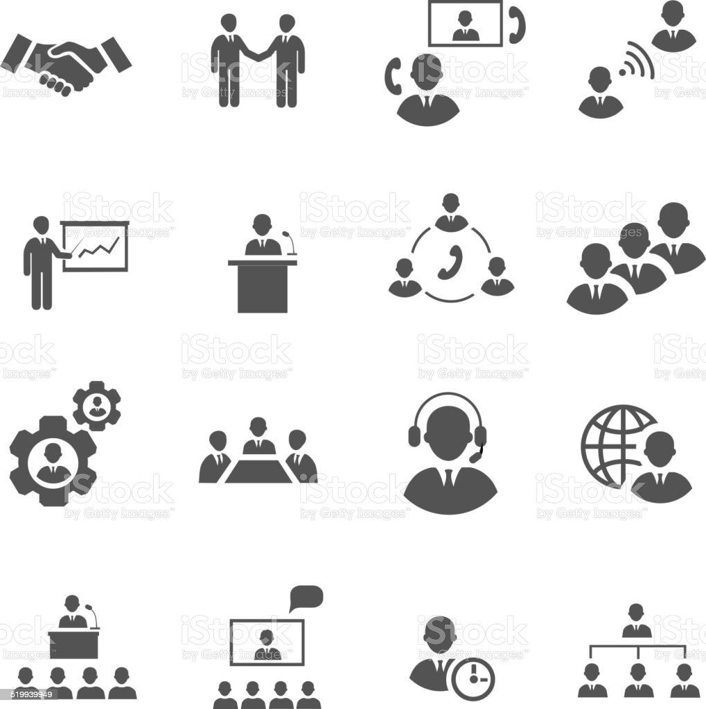 Business people online meeting strategic pictograms set of presentation  conference vector art illustration