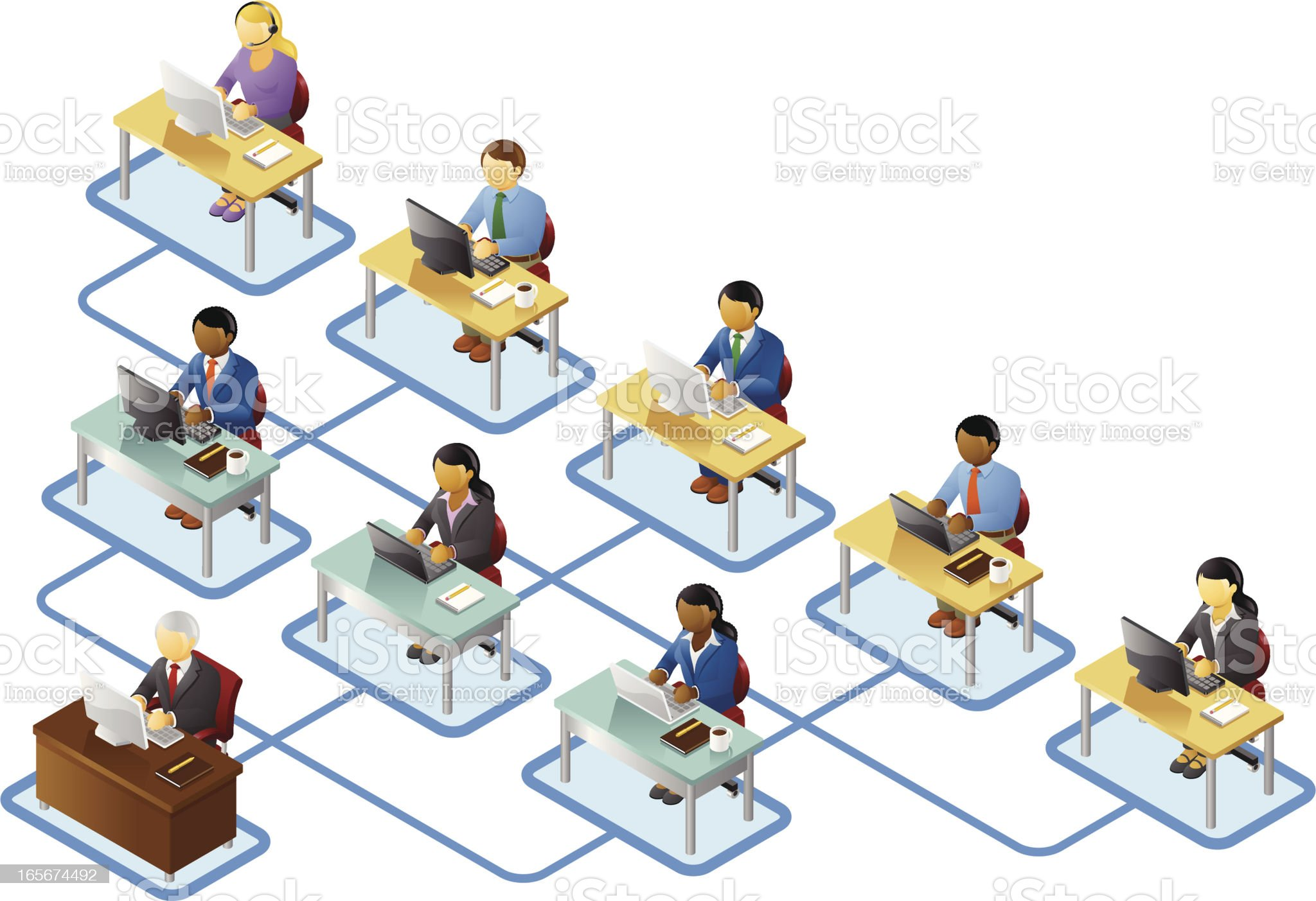 Business People Organizational Chart royalty-free stock vector art