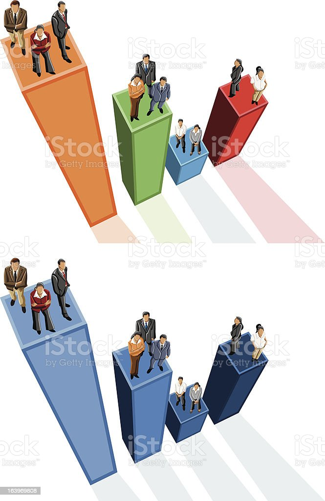 business people over chart royalty-free stock vector art