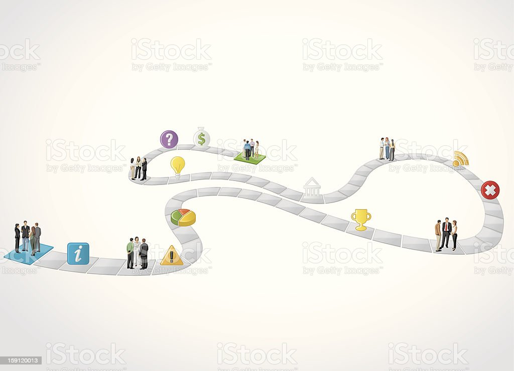 business people over path vector art illustration