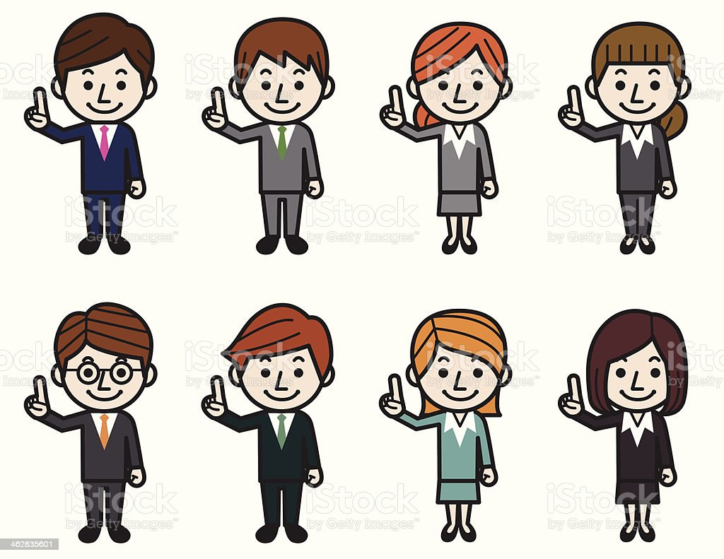 Business people pointing vector art illustration