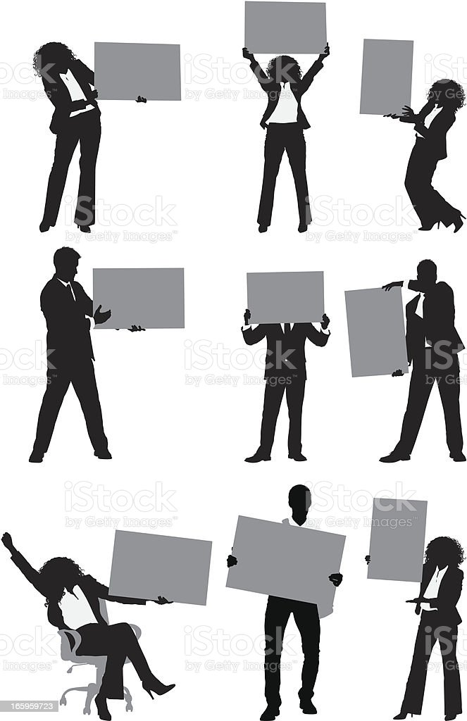Business people posing with placard royalty-free stock vector art