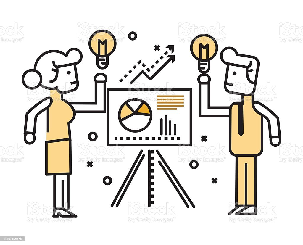 Business people  presenting and sharing business ideas on board. vector art illustration
