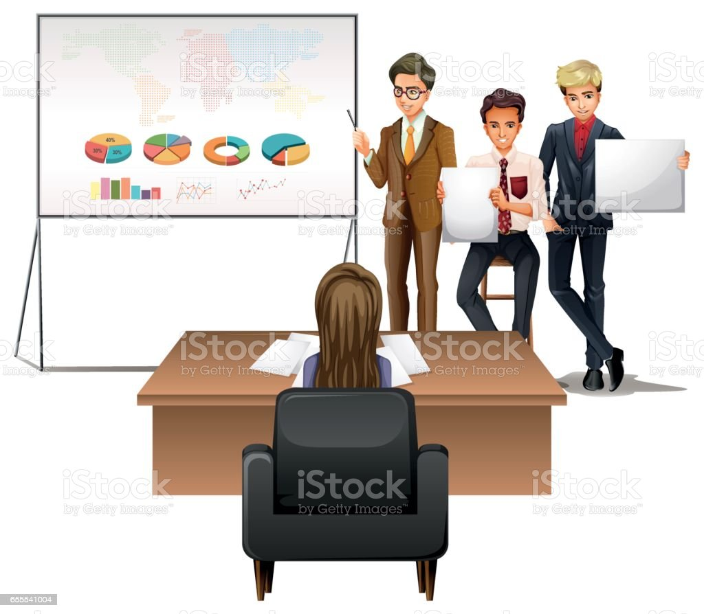 Business people presenting with graphs vector art illustration