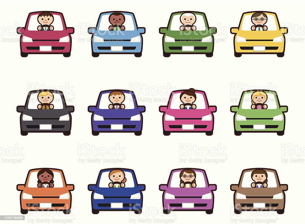 Business people riding car royalty-free stock vector art