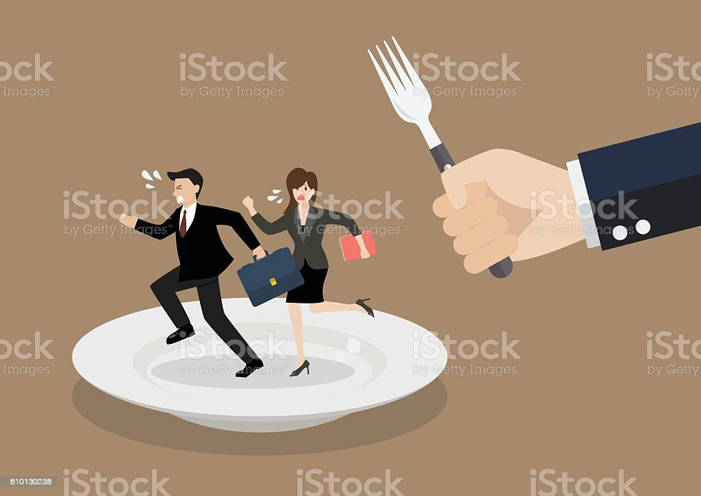 Business people run away from big hungry man vector art illustration