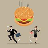 Business people run away from hamburger crisis