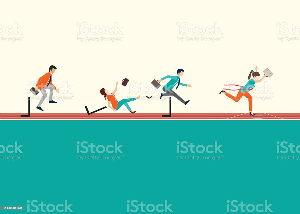 Business people running  and jumping hurdles on red rubber track. vector art illustration