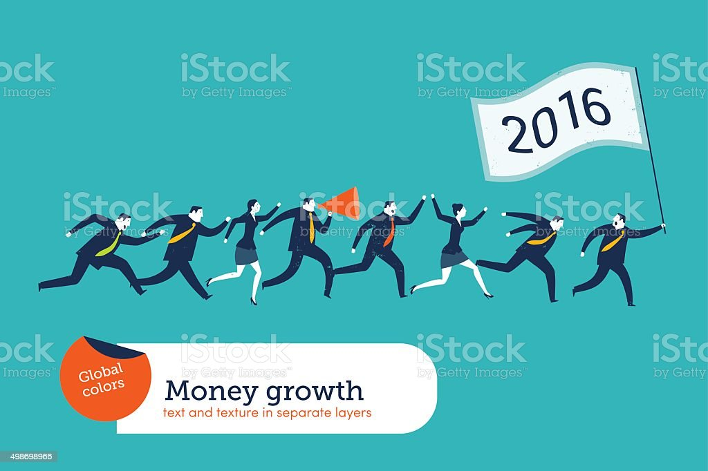Business People running with a 2016 flag vector art illustration