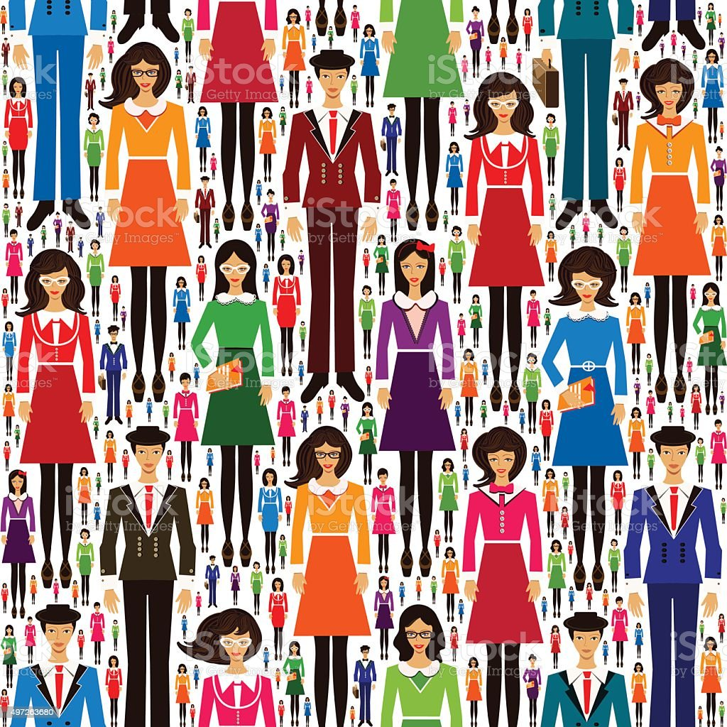Business People Seamless Pattern, Education vector art illustration