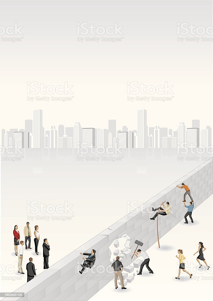 business people separated by brick wall royalty-free stock vector art