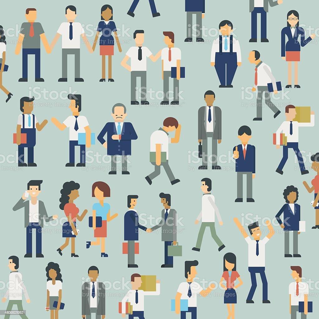 Business people set vector art illustration