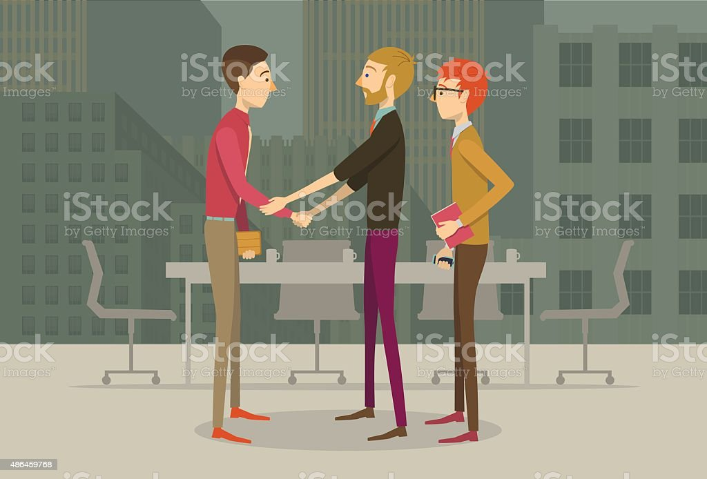 Business people shaking hands vector art illustration