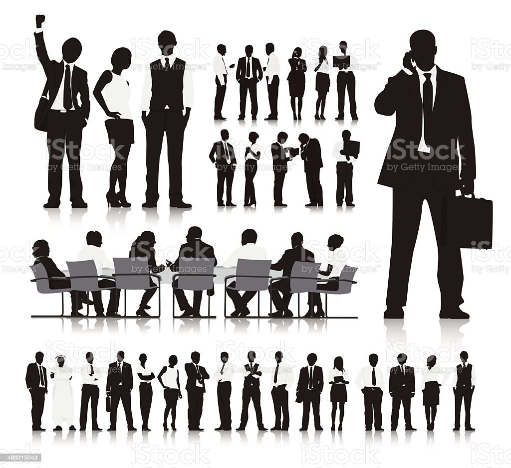 Business People Silhouette Collection royalty-free stock vector art