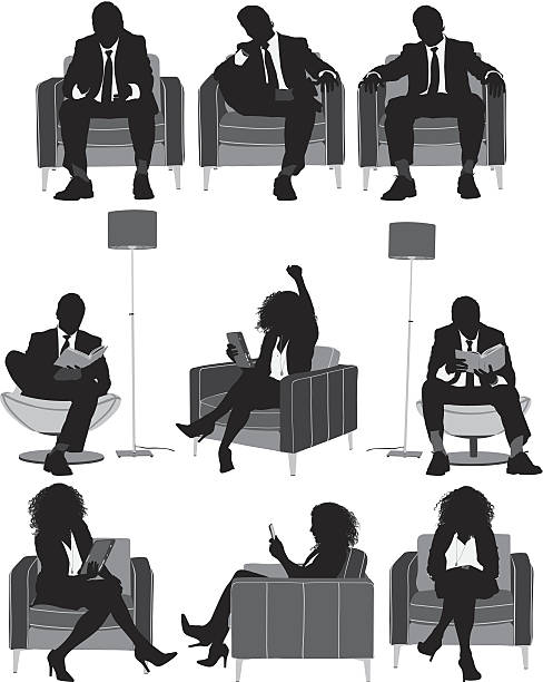 Silhouette Of Woman Sitting Chair Clip Art, Vector Images ...